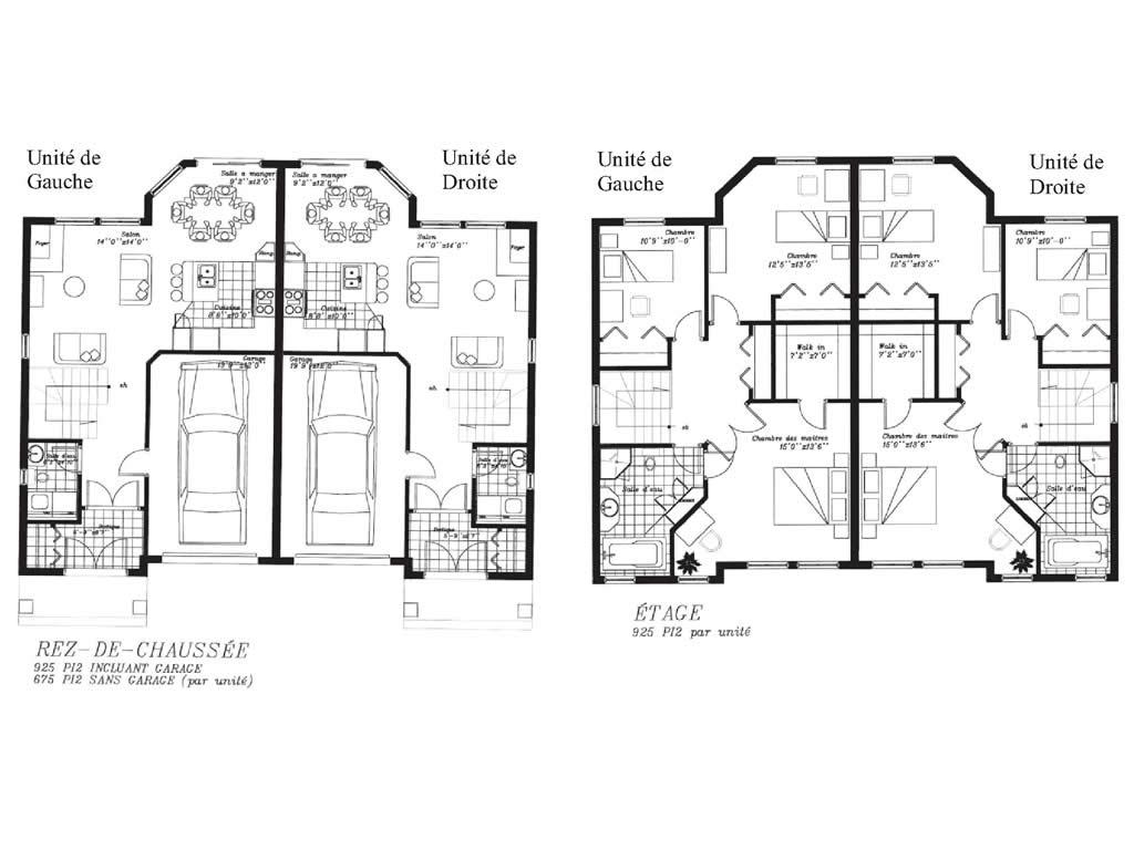 plan maison jumelee avec etage. Black Bedroom Furniture Sets. Home Design Ideas