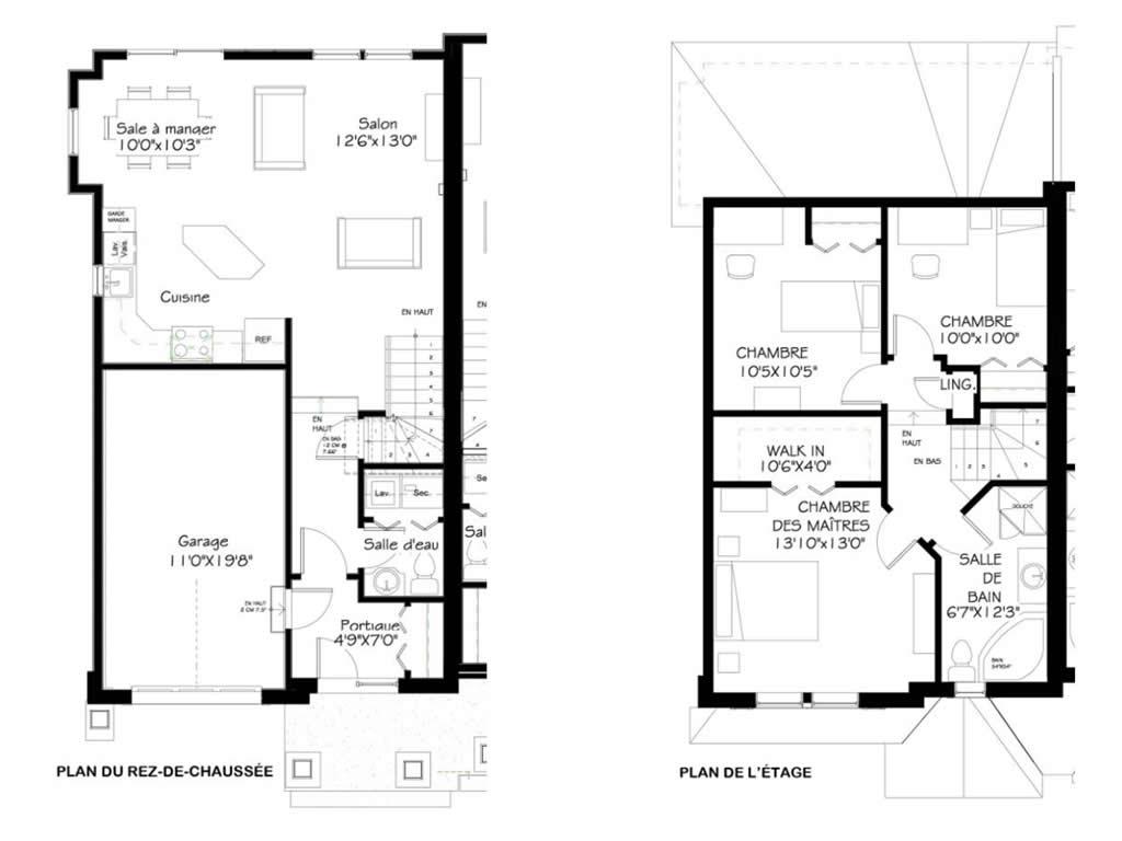 plan de maison jumele maison jumele de style champtre rustique option ou plan maison plain. Black Bedroom Furniture Sets. Home Design Ideas