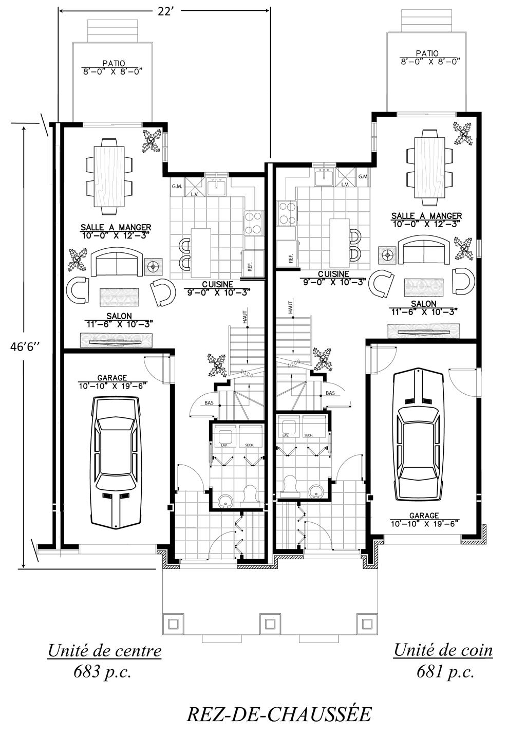 plan maison jumelee par le garage. Black Bedroom Furniture Sets. Home Design Ideas